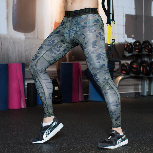 46d6d38589b1a7 2019 Camo Mens Compression Pants Sports Running Tights Skinny Basketball Base  Layer Fitness Joggers Leggings Trousers Yx16154