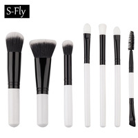 7 Pcs Makeup Brushes Set White Color Handle Synthetic Hair Make Up Brushes Tools Cosmetic Foundation