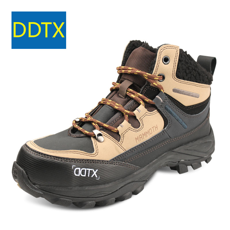 DDTX Winter Ankle Boots Men Shoes Outdoor Work Safety Boots Steel Toe Cap Waterproof Light Warm Nonslip Male Shoes Hiking Black