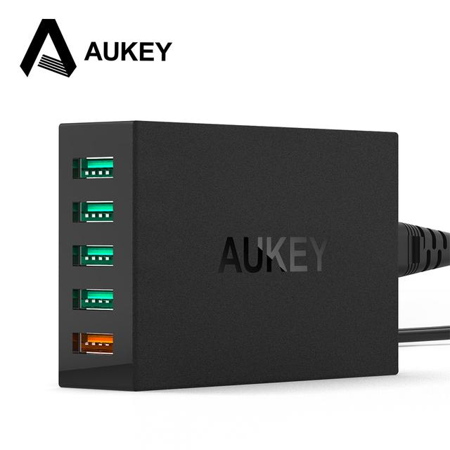 Aukey 5 portas usb carregador de mesa estação de carregamento com a qualcomm carga rápida 3.0 para galaxy note 7/7 borda, lg nexus 6, iphone 7