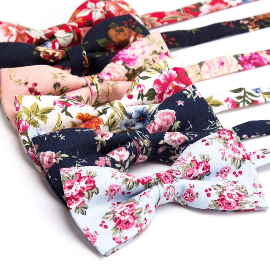 Mens Bow Tie Cotton Printing Fashion Neck Ties Rose Floral Wedding Parties Bowtie Noeud Papillon Homme Mariage Shirt Accessories