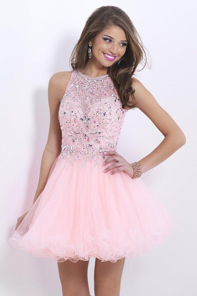2016 Pink baratos Prom Vestidos fiesta lindo octavo grado graduación ...