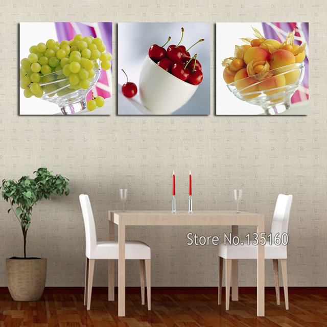 Restaurant Kitchen Wall Panels aliexpress : buy 3 panel kitchen fruit canvas art realist