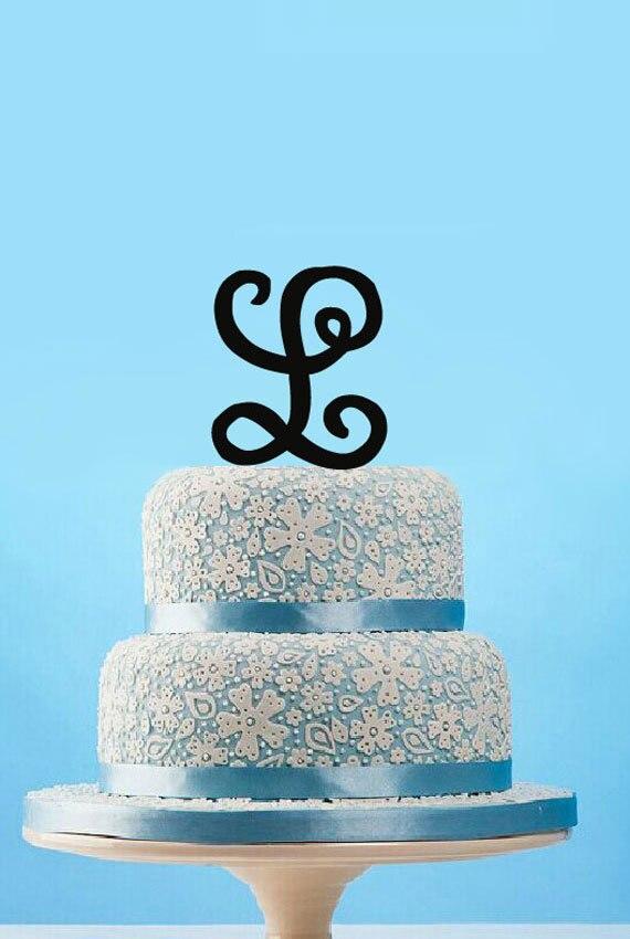 Custom Letter L Cake Topper Monogram Wedding Cake Topper