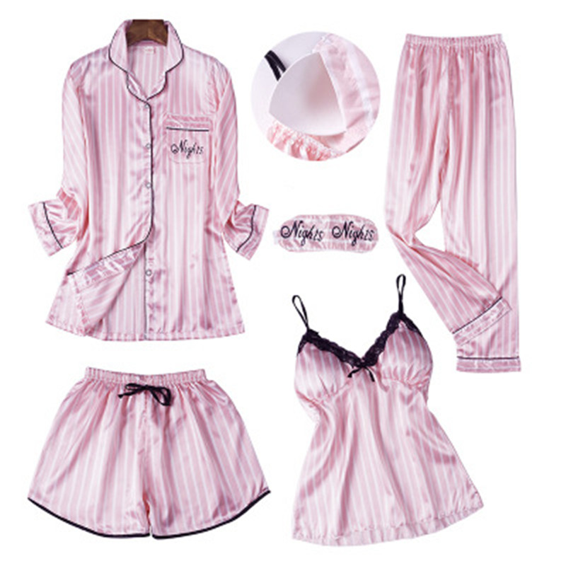 7Pcs/  Set   Women Silk Women Sexy Pyjama Long Sleeves V-Neck Striped   Pajamas     Set   2019 Spring Top Fashion Sleepwear