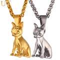 U7 Brand Chihuahua Charm Necklace Gold Plated Stainless Steel Cute Dog Pendant & Chain Animal Jewelry For Men/Women Gift P1030