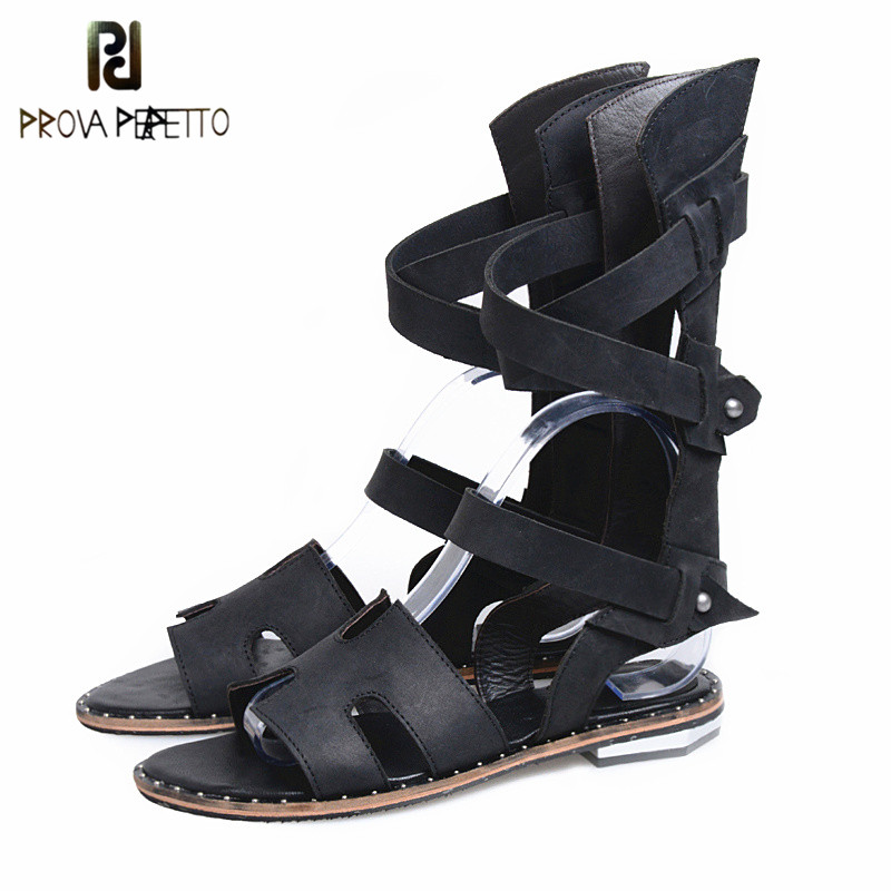 Prova Perfetto New Arrival Mid High Hollow Out Rome Style Woman Sandals Open Toe Elastic Band