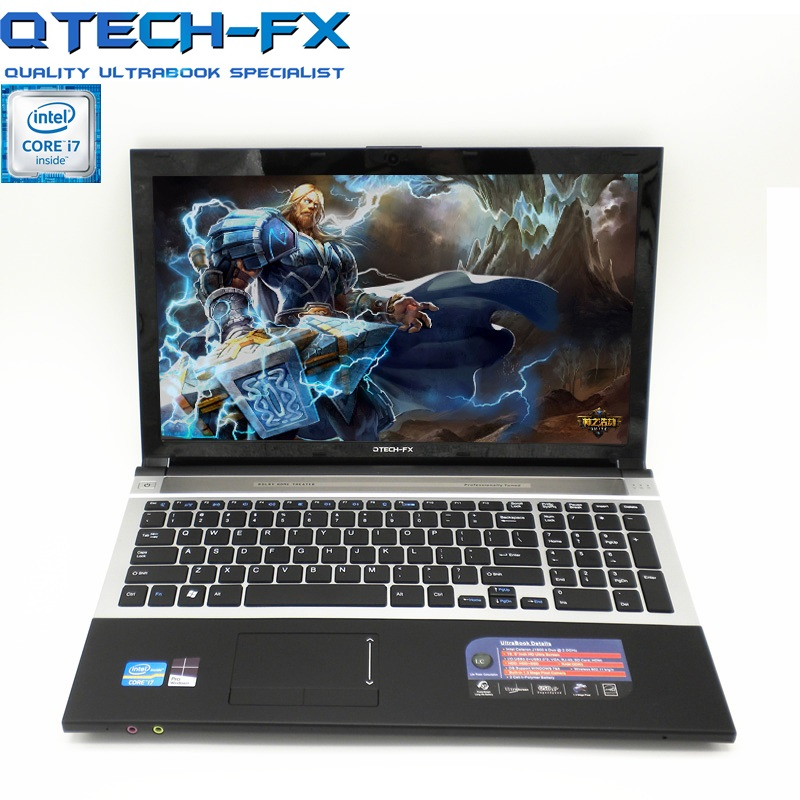 "15.6"" I7 SSD 512GB Game Ultrabook 8GB RAM CPU Intel Core I7 Windows 10/7 DVD Metal Laptop Arabic AZERTY Spanish Russian Keyboard"