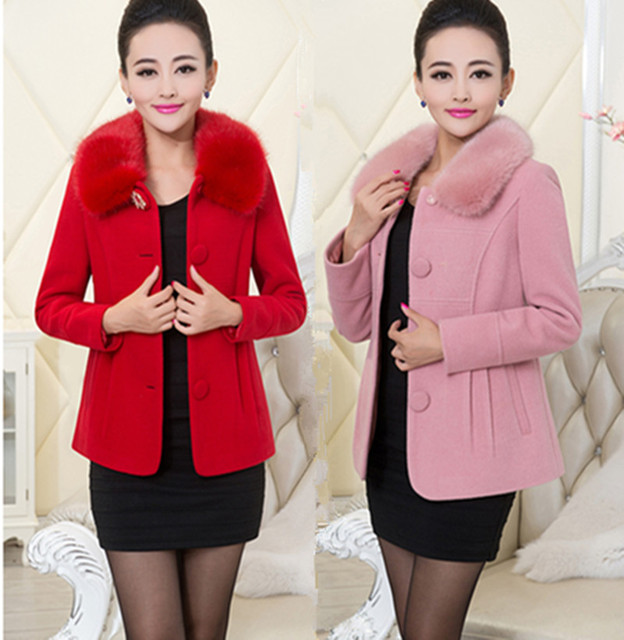 fa325ceb04b68 Detachable Fur Collar Slim Wool Coat Ladies Fashion All-Match Short Jacket  2016 New Winter