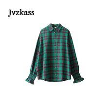 Jvzkass 2018 new spring retro elastic princess plaid shirt women long sleeve loose bf was thin Z130