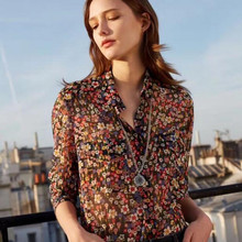 6388ac04c2804 Gold silk fabric Colorful Blouse Turn-down Neckline Long Sleeve Floral  Print Oversize Cool Women