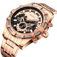 Luxury Top Brand Men Watches Loyal Blue Rose Gold Mens Watch Steel Chronograph Sports Watch Clock Date Waterproof Man Wristwatch