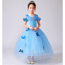 Girls Dress Up Party Gown Princess Cinderella Costume