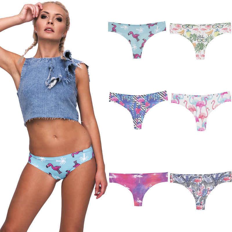 Women Seamless Underpants Print Lingerie Briefs Hipster Underwear Panties