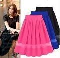 European and American Style Hot Sale Female Pleated Skirt Gauze Patchwork Elegant Women's High Waist Medium Skirt JWS084