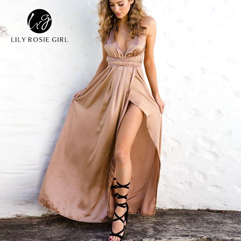 2019 spagetid rihma tagumata seksikas kleit naised Split õhtu pidu kleidid sügav V kaela satiin Maxi kleit pikk suve Vestidos