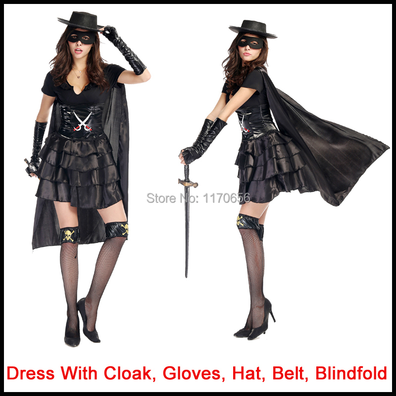 5pcs/set Adult Women Sexy Costume Black Pirates Ninja Warrior Costumes Fancy Halloween Party Dress Up High Quality-in Sexy Costumes from Novelty u0026 Special ...  sc 1 st  AliExpress.com : women zorro costume  - Germanpascual.Com