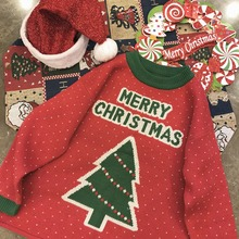 Autumn Winter Women Red Christmas Sweater Cute Tree Printed Knitted Sweaters Fashion Loose Jumpers Pullovers
