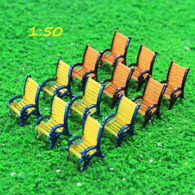 US $10 41 7% OFF|12pcs Model Railway Platform Leisure Chair Bench Settee  1:50 O Scale TYS18050 garden chairs model building kit railway building-in
