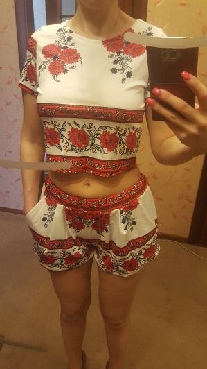HTB1DNQxQVXXXXaRaXXXq6xXFXXXl - Summer Women Suits Retro Rosemary Floral Crop Top Shorts Set JKP042