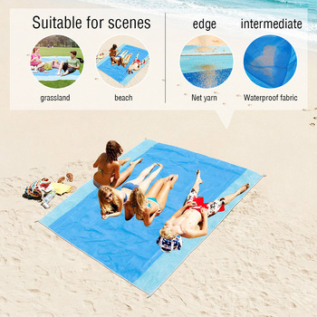 Sand Free Beach Towel Portable Blue beach Towels Anti-slip Sand Mats Polyester Outdoor Towel for Beach support drop ship 1