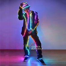 LED Light Clothing Luminous Suits Glowing Dance Costumes Men Luminous Clothes Cold Strip Party With Accessories LED Clothes