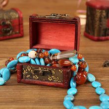 Jewelry Vintage Wood Handmade Box With Mini Metal Lock For Storing Jewelry Treasure Pearl European jewelry box wooden box A30619(China)