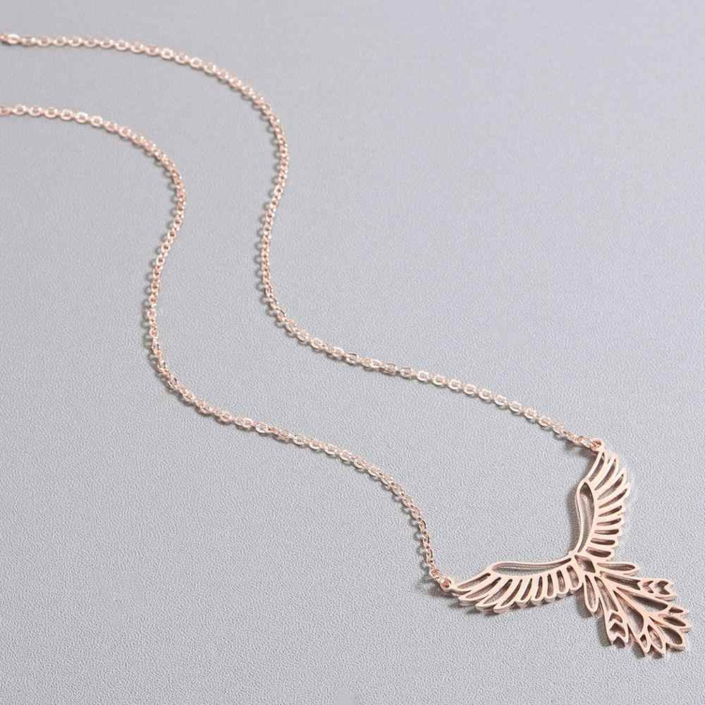 Todorova Stainless Steel Bird Necklace Origami Phoenix Pendant Necklace for Women Long Chain Necklace Men Jewelry Collier Femme