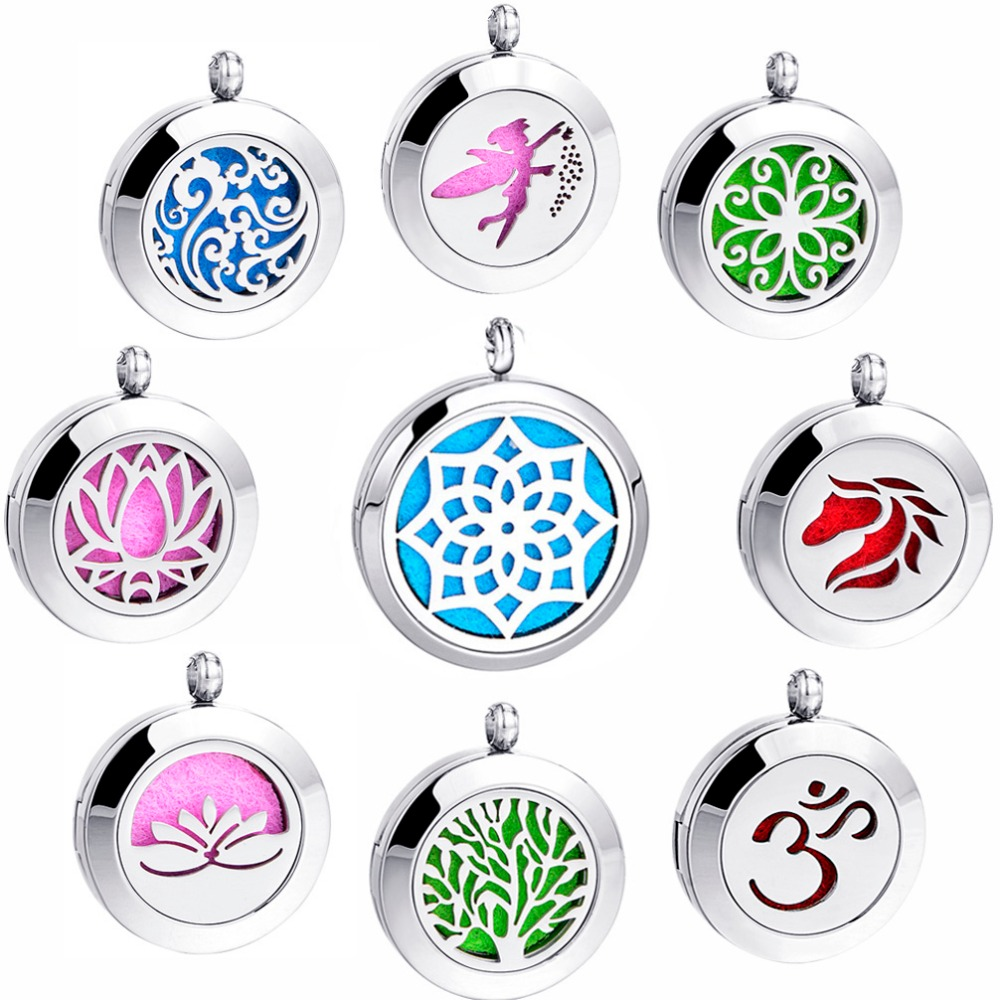 100% Real 316L Rostfritt Stål Hängsmycke Foto Locket Dream Catcher Parfym Halsband Aromaterapi Essential Oil Diffuser Locket