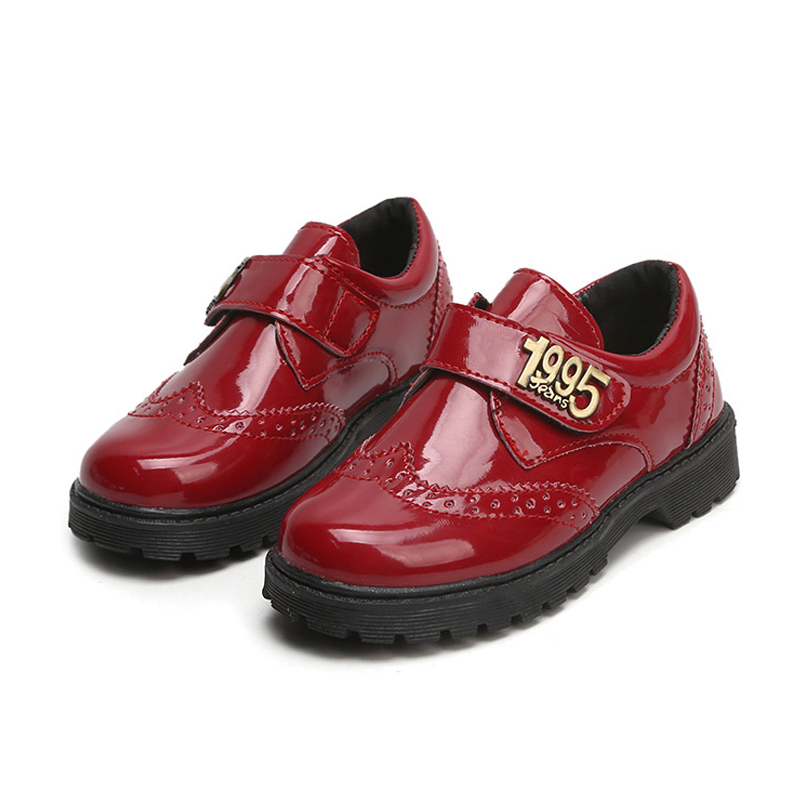 2018 Leather Shoes For Kids Quality Rubber Sole Children Boys Casual Shoes Fashion Cow Patent Leather Princess Shoes for Girls