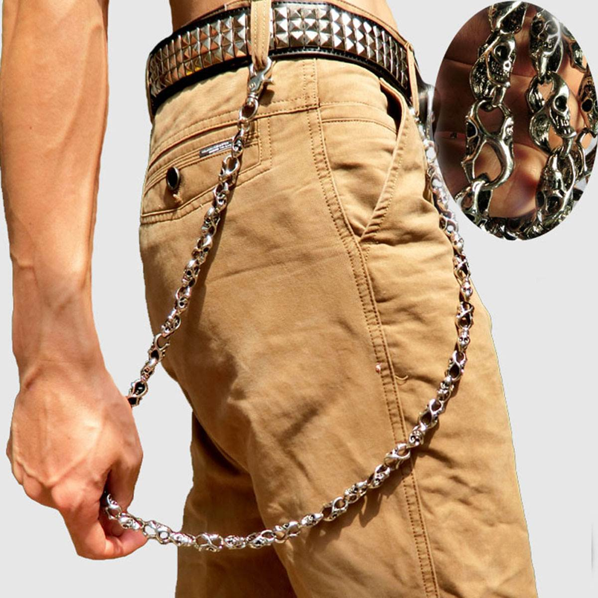 79cm Skull Biker Jean Wallet Chains Silver Ghost Rock Punk Metal Keychain Key Pant Chain Fashion Men Jewelry 2018