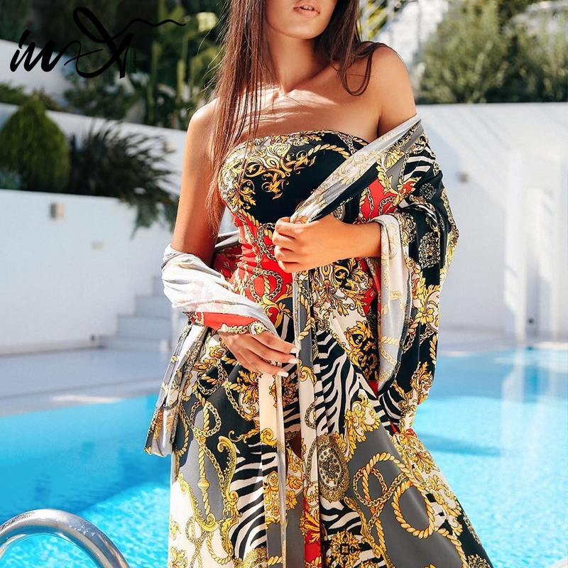 In-X Print Sexy Swimsuit 2019 Beachwear Cover-ups Long Sleeve Beach Dress Sarong Tunic For Women Summer Cover Up Bathing Suit