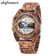 Relojes para hombre marca superior de lujo día fecha alarma relojes de pulsera deportivos reloj de madera para hombre reloj de cuarzo Digital hombre reloj