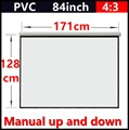 84 Polegada 4:3 Manual branco fosco tela de projeção portátil de mão com ganho de 1.1 Fixado Na Parede tela de projeção Projetor Branco Fosco