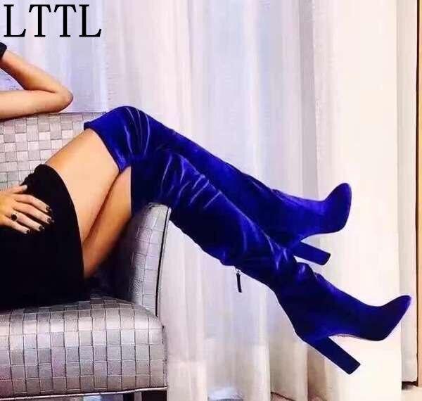LTTL Sexy fall Winter font b Women b font Velvet Over the Knee Boots Bright Blue
