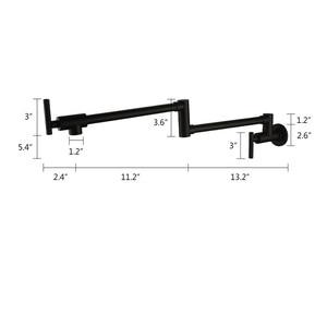 Image 5 - حنفيات مطبخ نحاسية سوداء من AODEYI قابلة للطي وعاء حشو 2 مقابض صنبور للطبخ على الحائط 13 012B