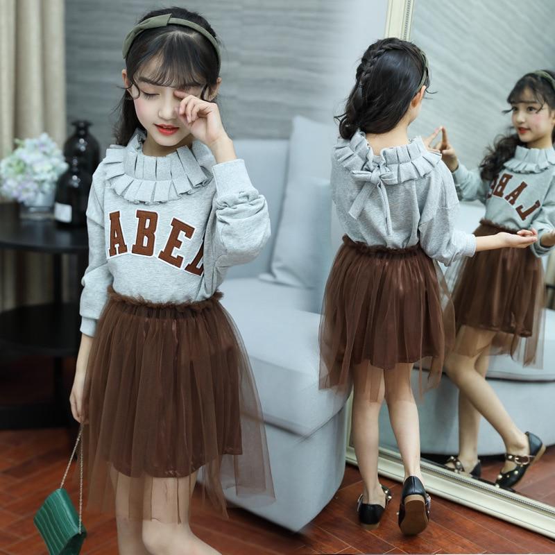 0e2fd0a8c38 2018 Kids Clothes Set Autumn Long Sleeve Sweatshirts + Skirts + Leggings  3pcs Big Girls School Outfits Children Clothing Costume
