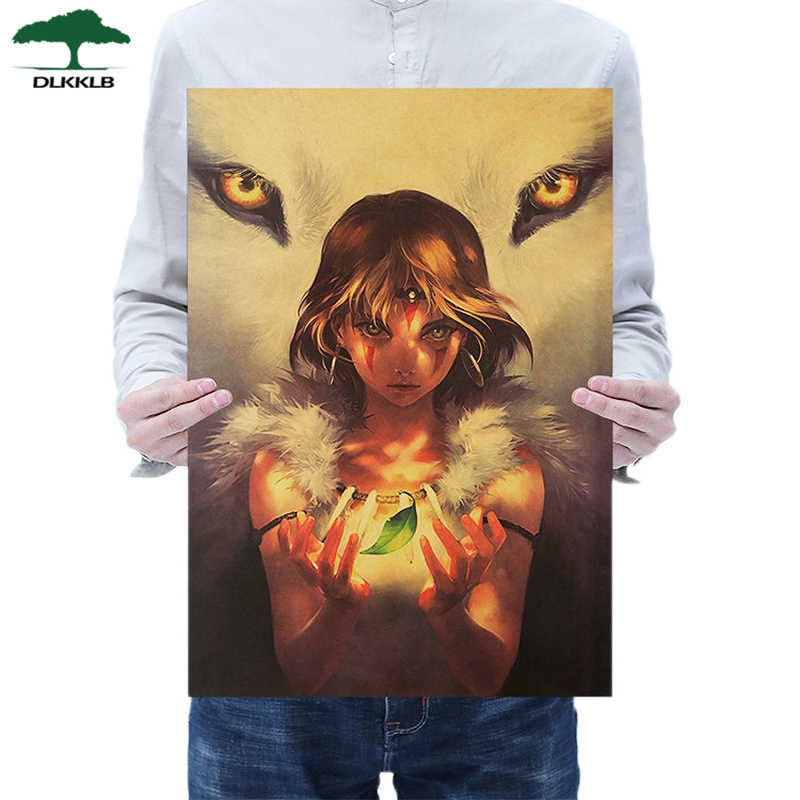 Dlkklb Miyazaki Hayao Princess Mononoke Kraft Paper Poster Anime Movie Wall Sticker Bar Cafe Decorative Painting 50.5x35cm