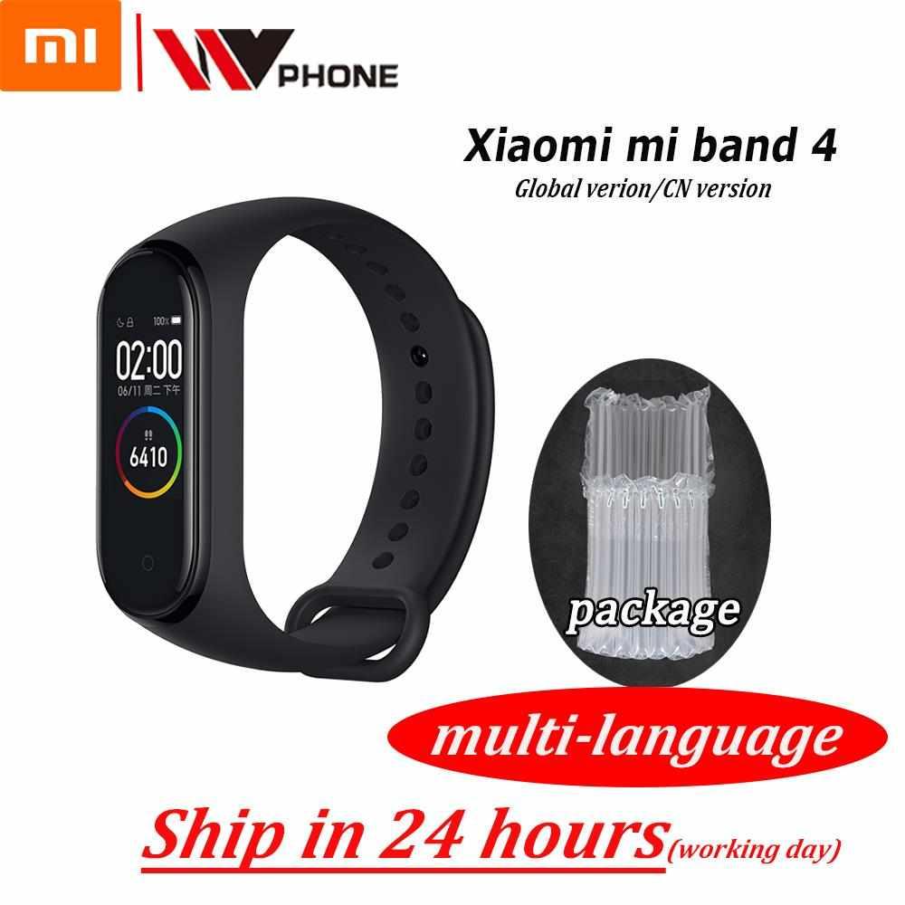 Оригинальный Xiaomi Mi-браслет 4 смарт-Браслет фитнес-браслет MiBand Band 4 Частота сердечных сокращений большой сенсорный экран сообщение Smartband