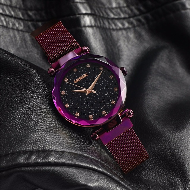 Starry Sky Dial Quartz Purple Blue Watch Mesh Magnet Stainless Steel Waterproof Creative Diamond Elegant Ladies Women Watches