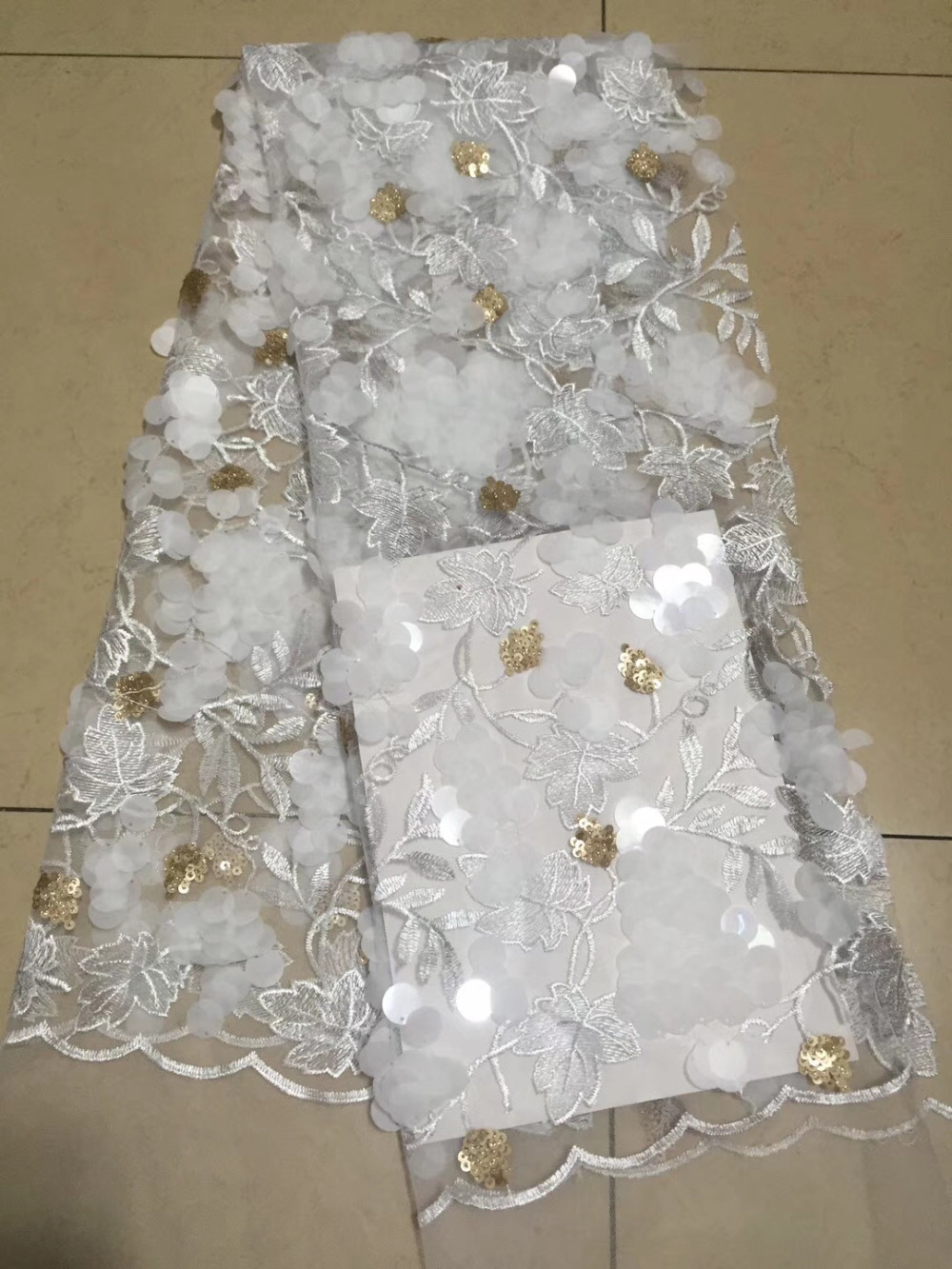 Popular New Latest French Laces Fabric High Quality Fabrics For Patchwork White Gold Big Sequins DIY