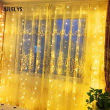JULELYS 4M x 1.5M 192 Bulbs Christmas Garland LED String Light Holiday Party Garden Wedding Decoration Curtain Lights