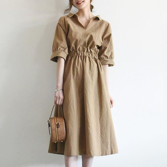 Summer Elegant Office Ladies Khaki Vintage Women Midi Dresses High Waist Plain Lace Up Korean Style Female Fashion Retro Dress