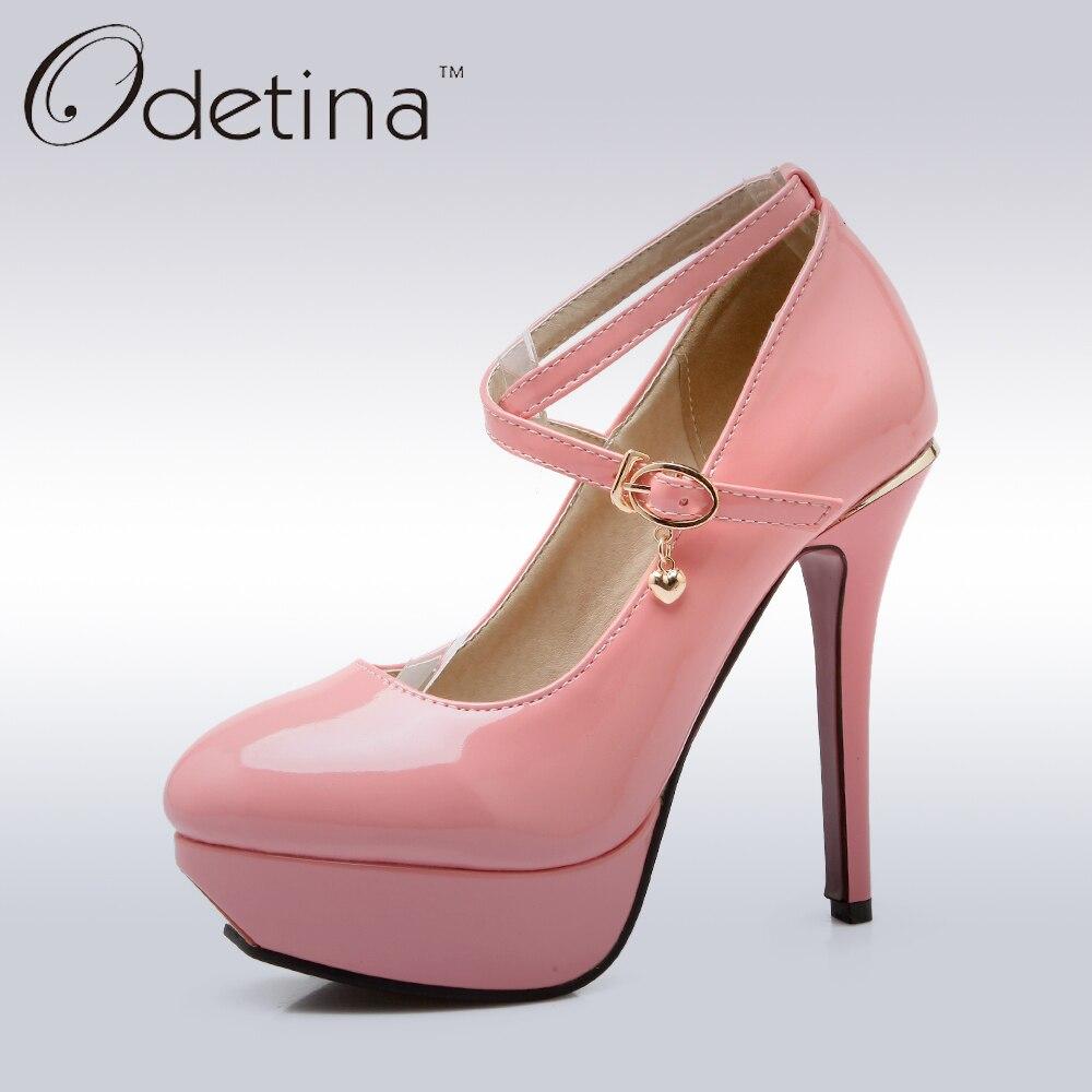 Odetina 2017 Ladies Sweet Pink Mary Jane Pumps Ankle Strap Stiletto High Heels Platform Pumps Womens 12cm High Heels Shoes