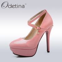 Odetina 2017 Ladies Sweet Pink Mary Jane Pumps Ankle Strap Stiletto High Heels Platform Pumps Womens 12cm High Heels Shoes
