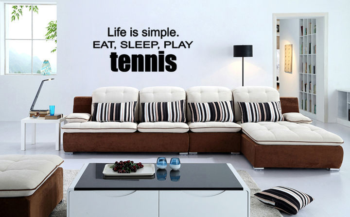 Tennis Life Is Simple Eat Sleep Family Wall Decal Stickers Designs For Living Room Wallstickers