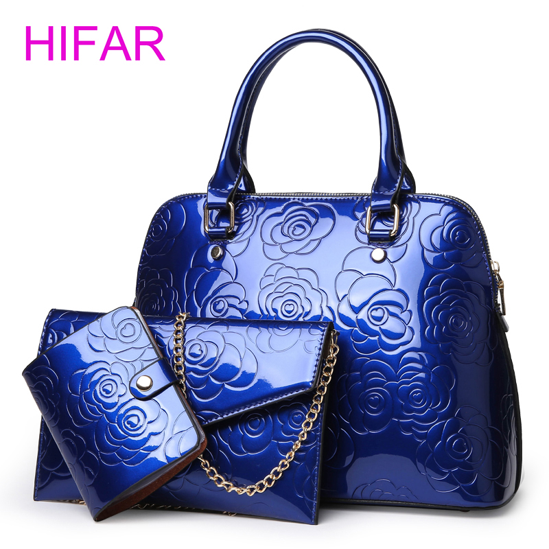High Quality Patent Leather Women Handbags Luxury Floral 3 Sets Ladies Composite Bag Fashion Shell Bags For Women Shoulder Bags fourdesigns women s leather luxury shell handbags fashion national flag print ladies shoulder