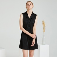 2019 Sleeveless PURE Silk Dresses 100% Heavy Silk Black Classic DRESS Women Dress Party Dress