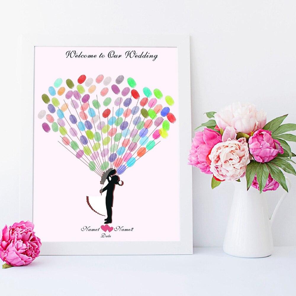 Bride And Groom,Free Custom Name Date Fingerprint Signature Guest Book For Wedding Decoration,Canvas Print DIY Wedding Sign Book