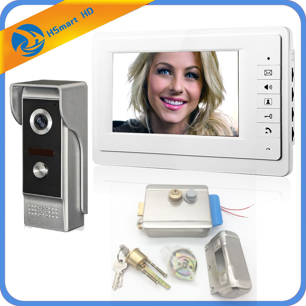 Wired 7 Video Door Phone Intercom Entry System 1 Monitor + 1 RFID Access Camera + Electric Lock FREE SHIPPING diy wired 7 door intercom entry system camera video doorbell intercom electric lock kit for home security f1665
